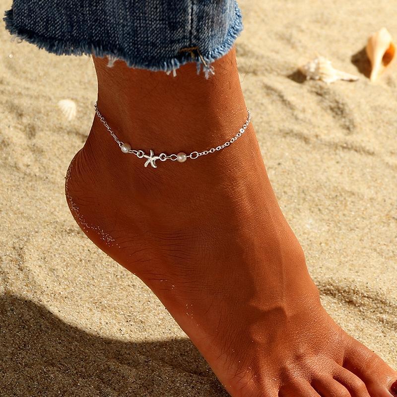 delle nuove donne vdiCY estivi personalizzati accessori Starfish Beach personalizzati moda delle nuove donne FZ0053 cavigliera estate Pearl Starfish Beach