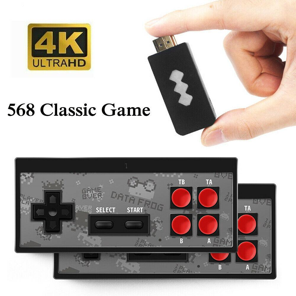 Newest 4K HD Video Game Player Wireless Handheld Game Joystick HDMI 600/AV 568 Retro Classic Games Wireless Portable Game Consoles Kids Gift