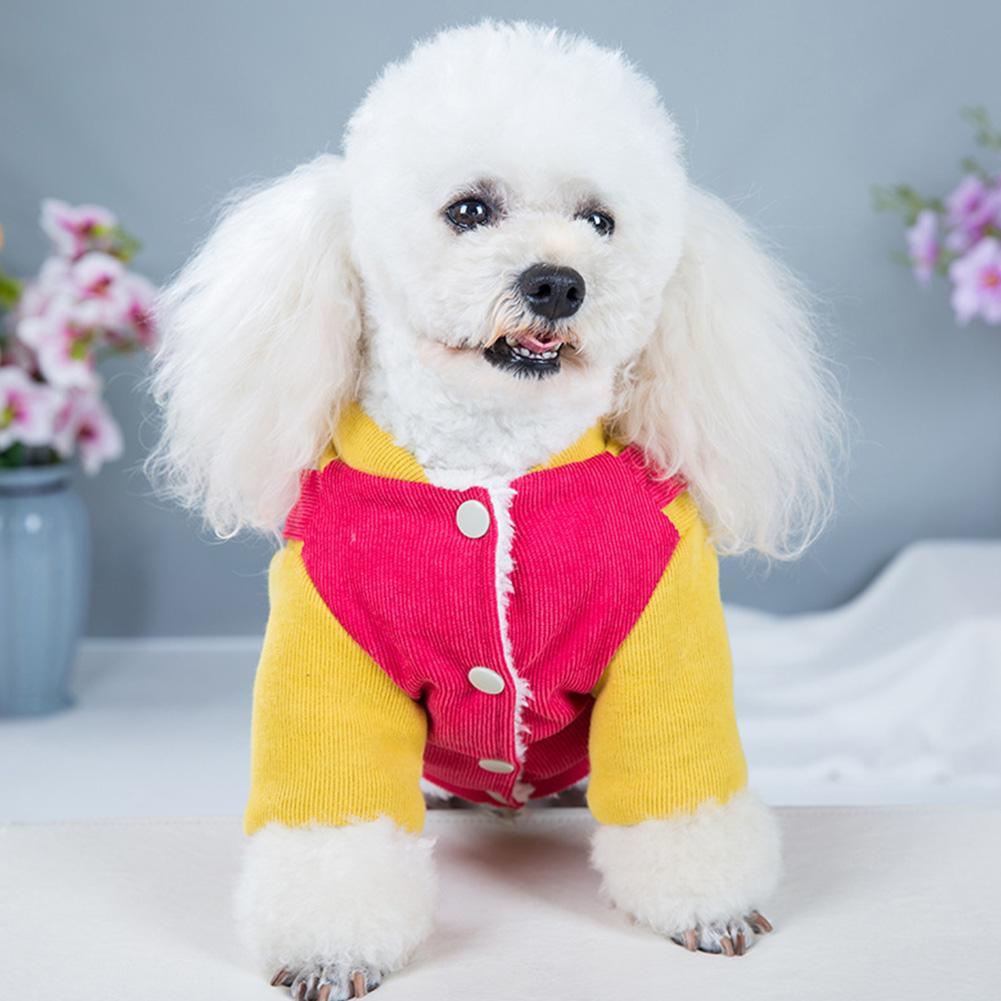 Inverno quente revestimento macio Moda Patchwork Dog roupas à prova de vento Botão Encerramento