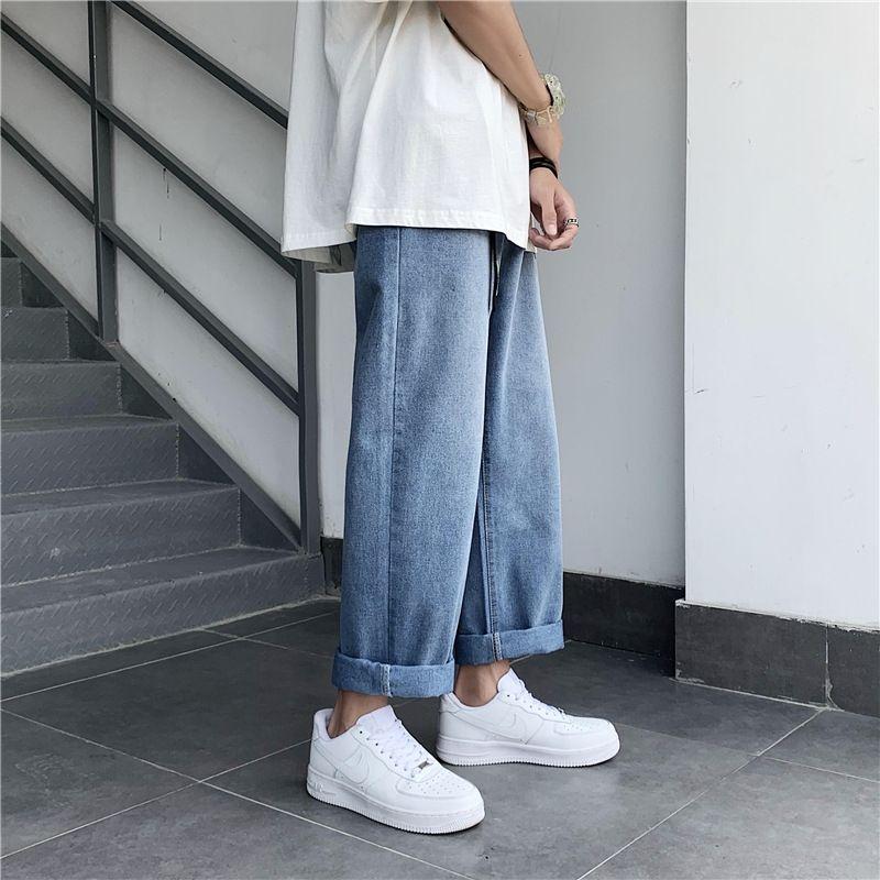 estudiantes rWmZy br moda anchos pantalones vaqueros de los hombres del verano de los pantalones vaqueros de la pierna suelta estilo Zx3Ie coreana y Pantalones y pantalones pantalones rectos papá bfstyle todo-