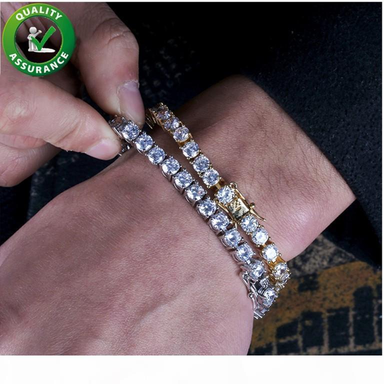 Престижное Дизайнер ювелирных изделий мужские браслеты Iced Out Цепи Алмазный Теннис Браслет Hip Hop Jewelry Мужчины 18K позолоченный браслет для любви Link 5мм