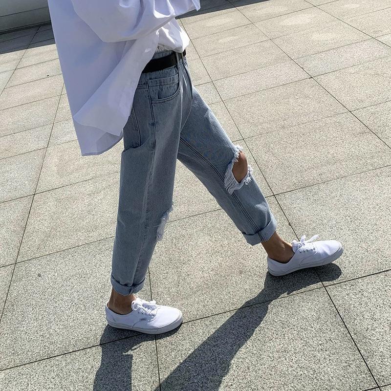 Primavera emlfW grande estilo coreano calças até os tornozelos e calças cortadas da forma dos homens buraco corte lavado hip hop jeans dos homens novos e verão calças de brim