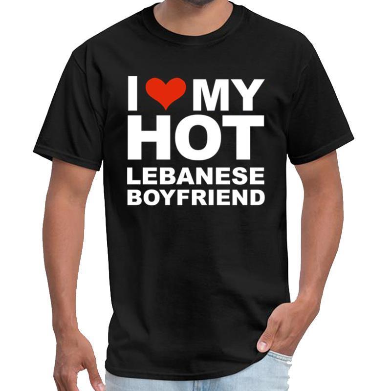 Отпечатано I Love мой горячий ливанец Boyfriend День Святого Валентина пространство х т рубашки мужские двойные пики тенниска большой размер s ~ 5xl тройник сверху