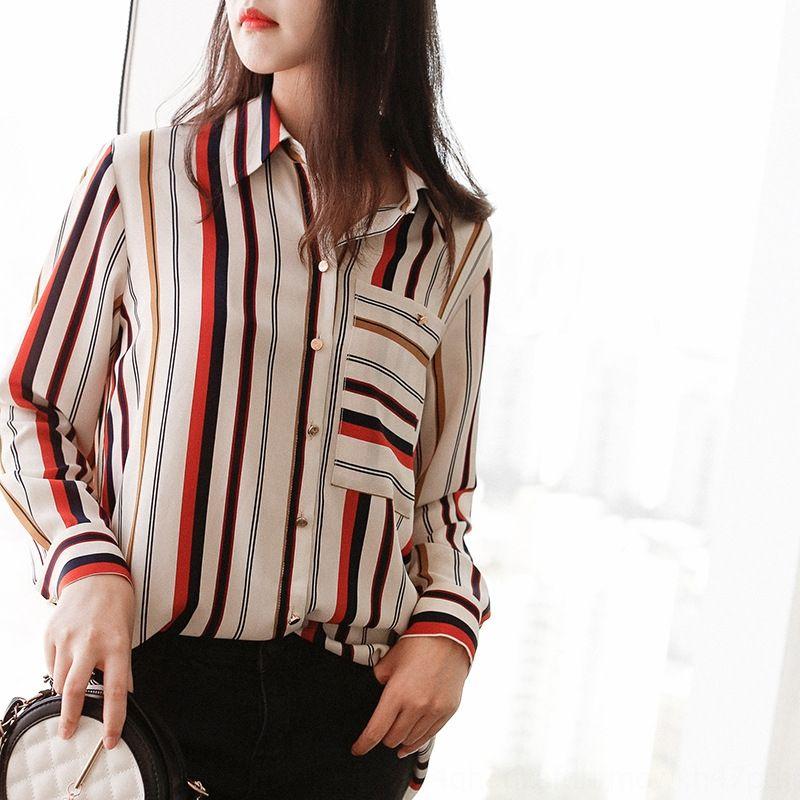 kUuPr Fengwu seda manga de seda 2020 de la moda de primavera casuales con bandas largo trayecto por carretera de las nuevas mujeres de la camisa camisa versátil