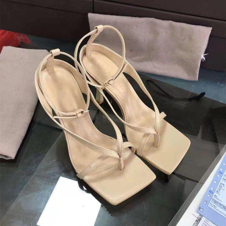 paquete de origen cielo azul elegante V de estiramiento de la correa de la sandalia de los talones de diseño zapatos de cuero genuino únicos estables con una suela tradingbear cuadrado