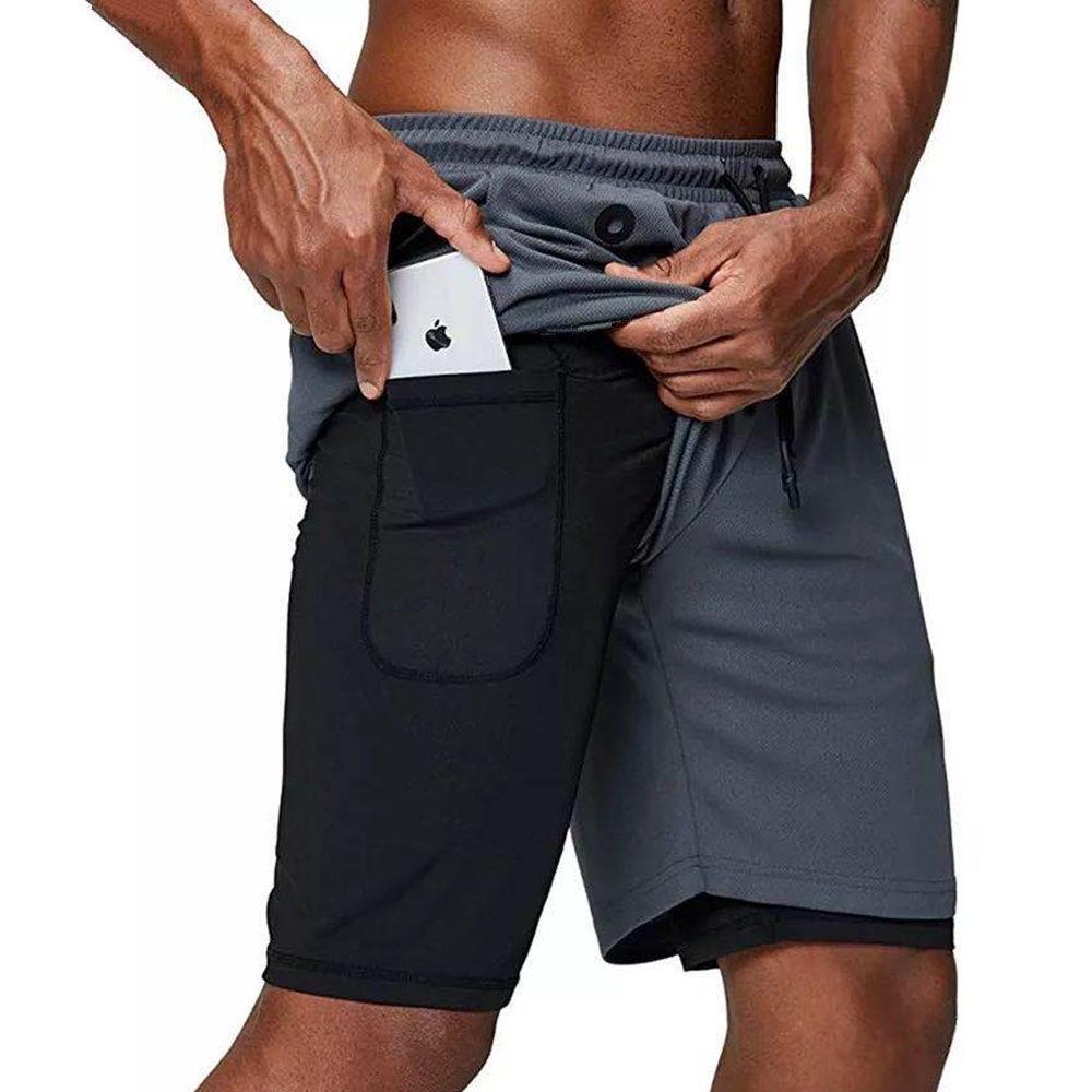 Çift Güverte Koşu Spor Şort Erkekler Spor Salonu Fitness Eğitim Hızlı Kuru Kısa Pantolon Erkek Koşu Egzersiz Bermuda Basketbol Şort Y200901