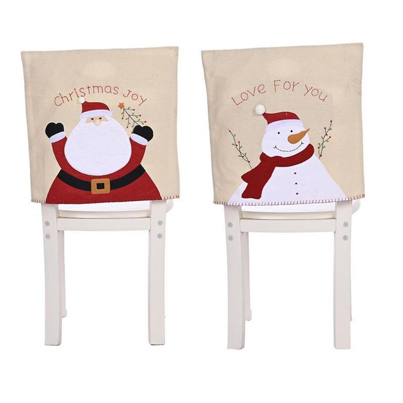 Рождество белье Председатель Обложка Санта-Клаус снеговика вышивки стул Обложки Новый год рождественские украшения