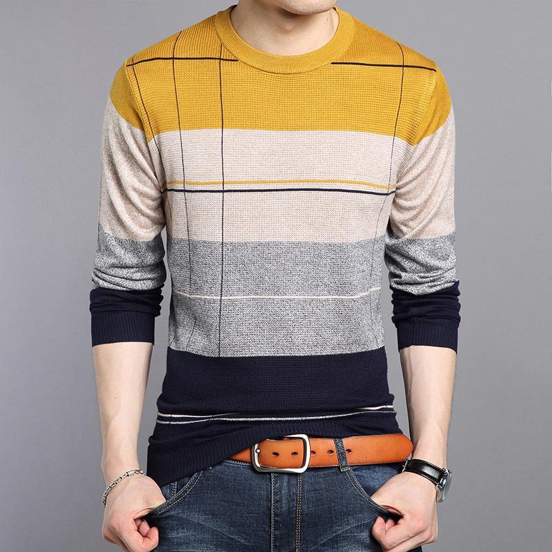 2020 Nouvelle Automne Homme Patchwork couleur Pull O Col cintrée à rayures tricot pour hommes Pulls et pull-overs Jumper