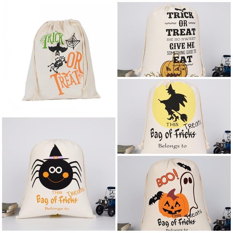 Mode Sacs Halloween Cadeau Sac de sucrerie Sac à cordonnet Festival Party de Noël Trick Motif de citrouille ou traiter 6 7hk D2