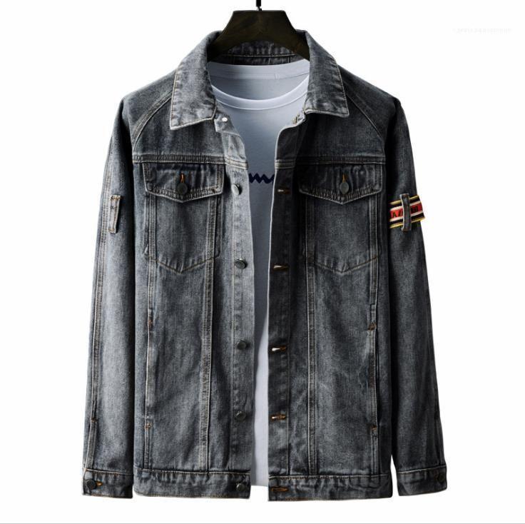Denim Chaqueta Botón Mosca Adolescentes Pella Cuello Partchwork Rayado Pocket Coats Males Estilo Street Outwears Mens Spring Designer