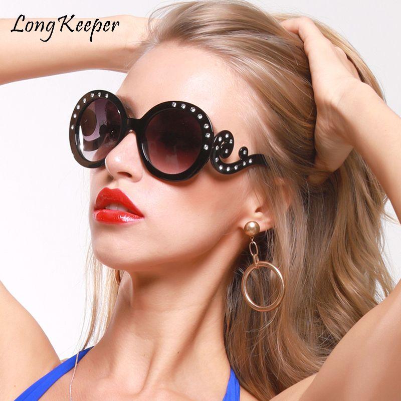 Glasübergroße Brillen UV400 2020 Runder Rahmen Große Frauen Luxus Kristall Sonnen Diamant Für Weibliche Strass Sonnenbrille Bunte TKLKC