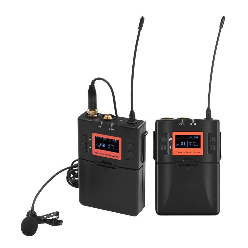 DSLR Fotoğraf Makinesi Smartphone PC Tablet Kaydı için kablosuz Boyun Mikrofonu Sistemi UHF 60-kanal One Verici Bir Alıcı