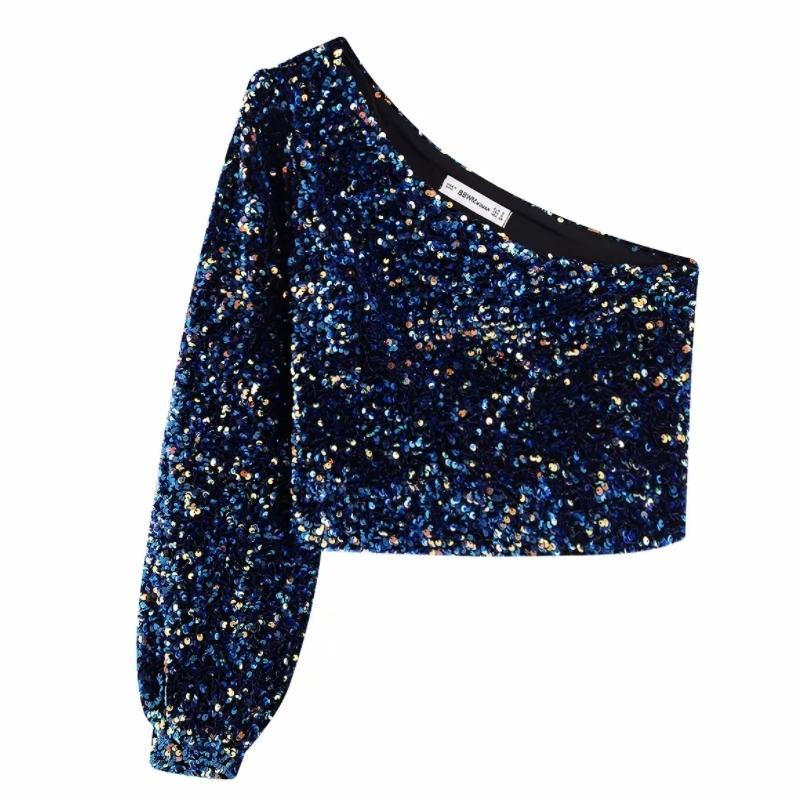 2020 Frauen Pailletten Dekoration Asymmetry Einzelne Schulter Shirts Female Neun Viertel Sleeve Roupas Freizeit Bluse Chic Tops LS6115 CX200819