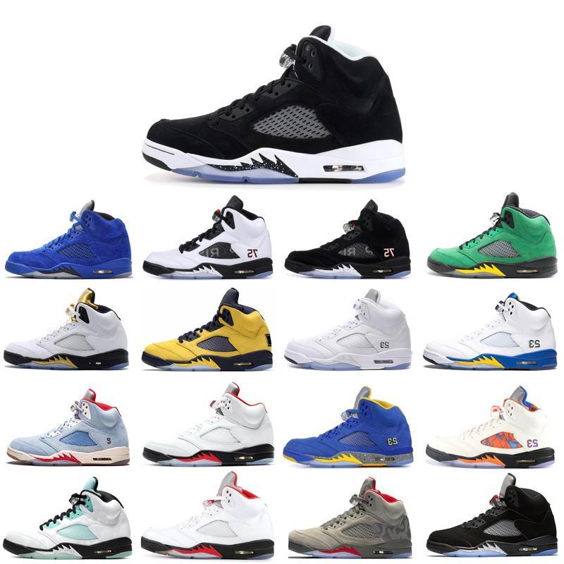 2020 Nueva Top para hombre Zapatos blackBasketball yelloewSneakers caliente frescas Formadores cómodo zapato azul SatinB gris de moda zapatillas de deporte 5 5s