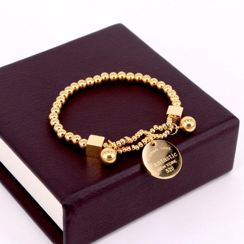 "Stainless Steel Ball Beads For Women Circle Tag Charm Stretch Strand Bracelet ""Fantastic Eternal Love New York"" K033"