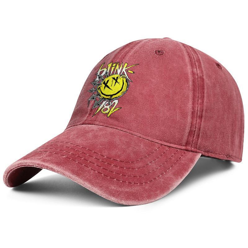 Men Women Blink 182 Punk rock Funny face Fashion Denim Baseball Cap Cool Washed Dad Hat Adjustable Vintage Ball music gold