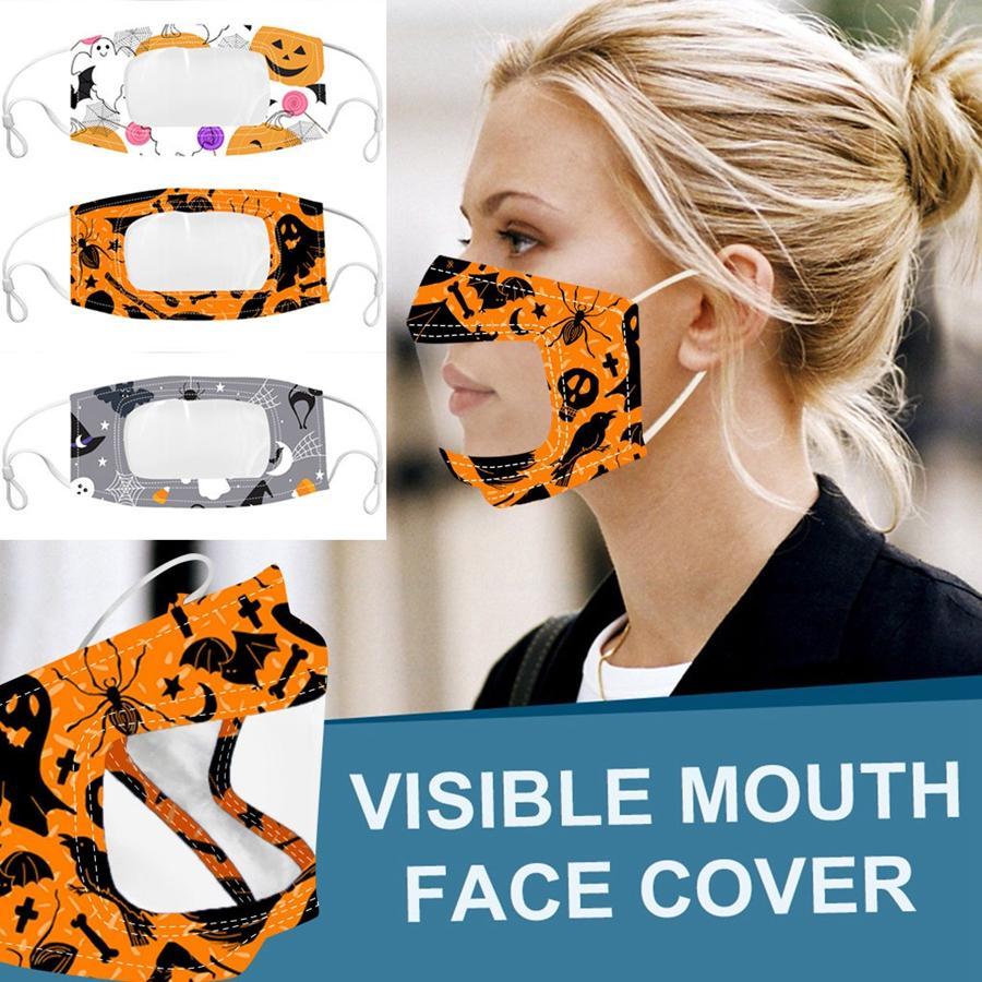 Masques visibles Bouche Visage Halloween Noël 3D motifs imprimés Ghost citrouille masque Deaf Mute Masque unisexe adulte DDA411
