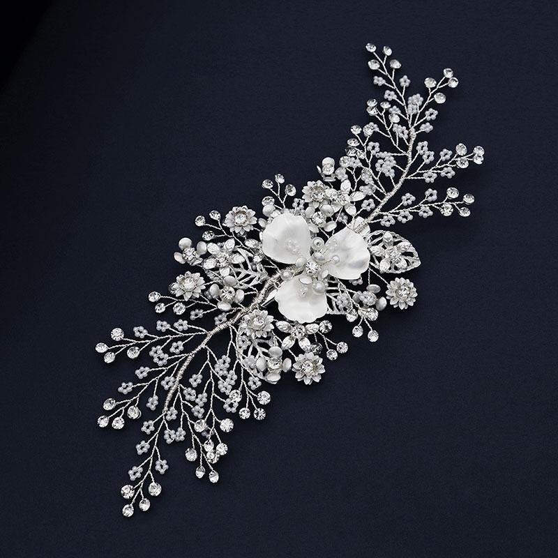 Handmade Super-Fee weiße Blumen-Blatt Simulierte Perlen Strass Haarnadel Clips Kopfschmuck Braut Noiva Hochzeit Stirnband