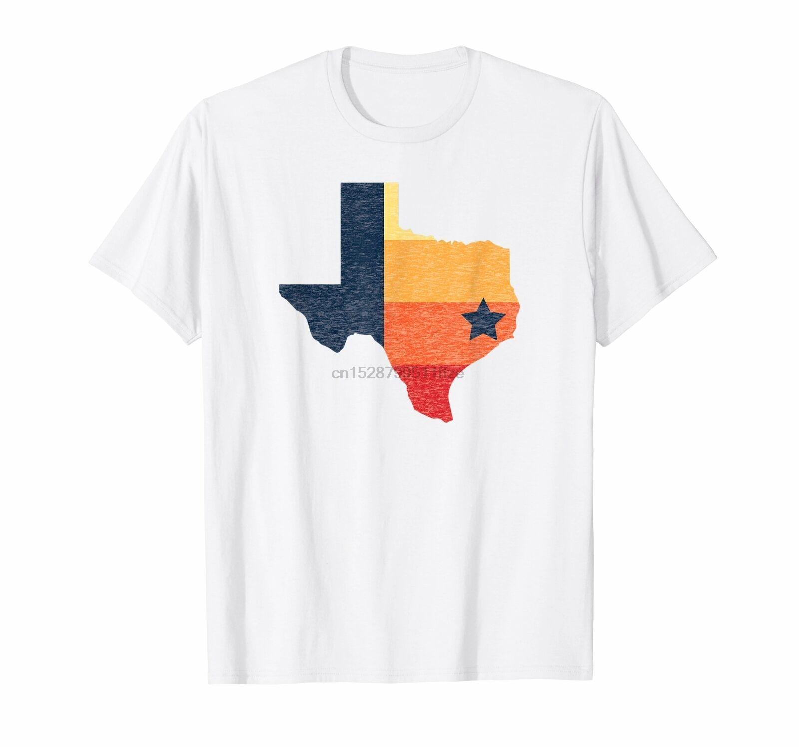 Colori Retro Houston Vintage baseball Texas Mappa T Shirt
