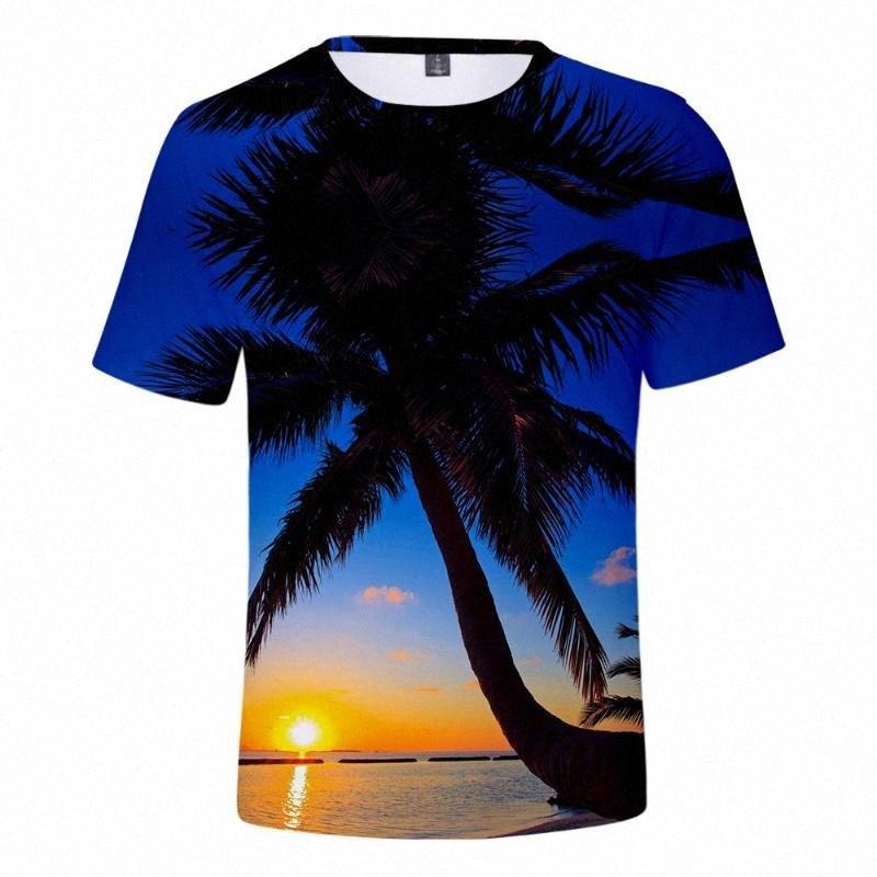 Plage T-shirt Homme Femme T-shirt T-shirt des hommes océan beau ciel Mer Vue 3D T-shirts respirante cool T Tops 22 A3wU #