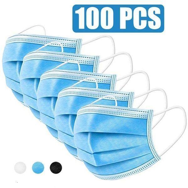 100pcs Face Mask Disposable Protect 3 Layers Filtration Dustproof Earloop Non-woven Mouth Masks 50pcs/box