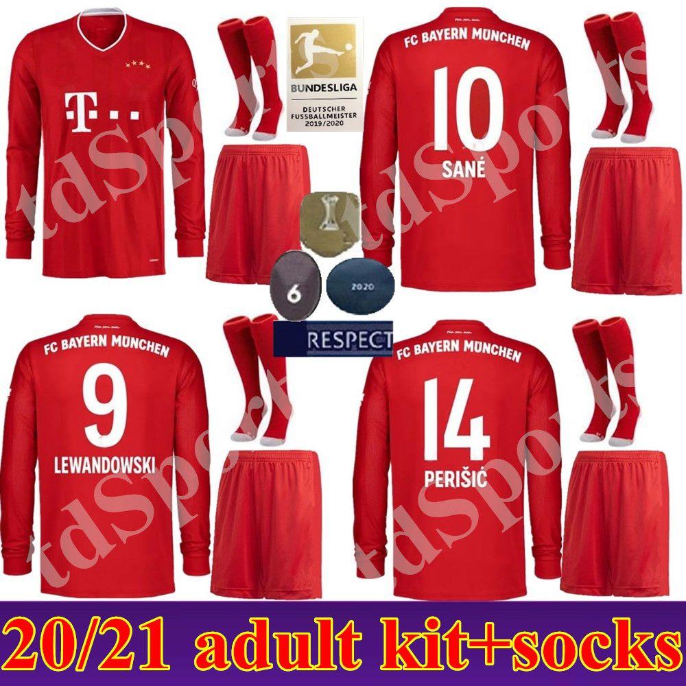 20 21 mangas largas Bayern Múnich Hombres Jersey fútbol casero Lewandowski THIAGO 2020 uniforma el adulto 2021 HERNANDEZ COUTINHO conjunto completo de fútbol