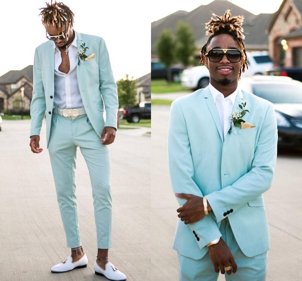 2021 Trajes para hombre verde menta Slim Fit dos piezas de la playa de los padrinos de boda esmoquin para los hombres enarboló la solapa del traje de baile formal (chaqueta + pantalones) AL6899