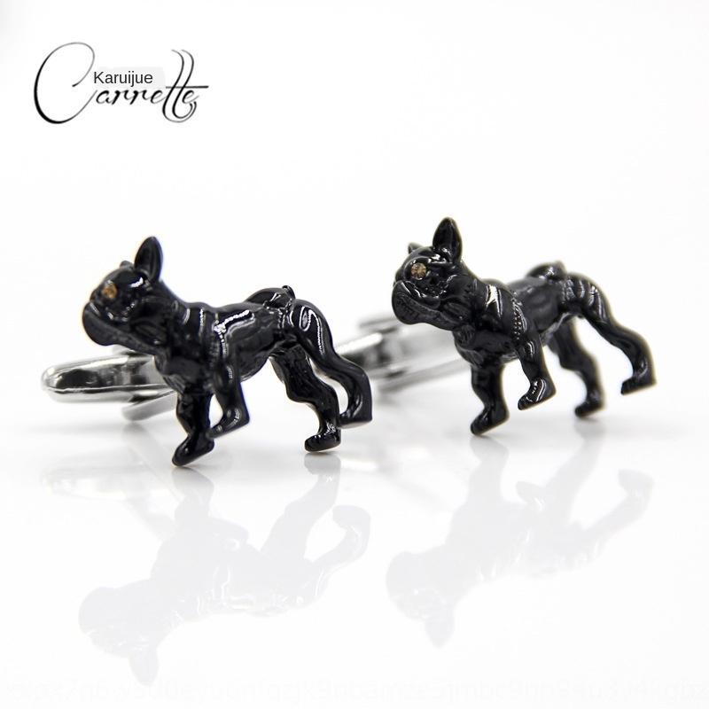 nwE6k Carrijue animal New Black Dog Style French cufflinks fun black dog high-end diamond Diamond men's cuff nail