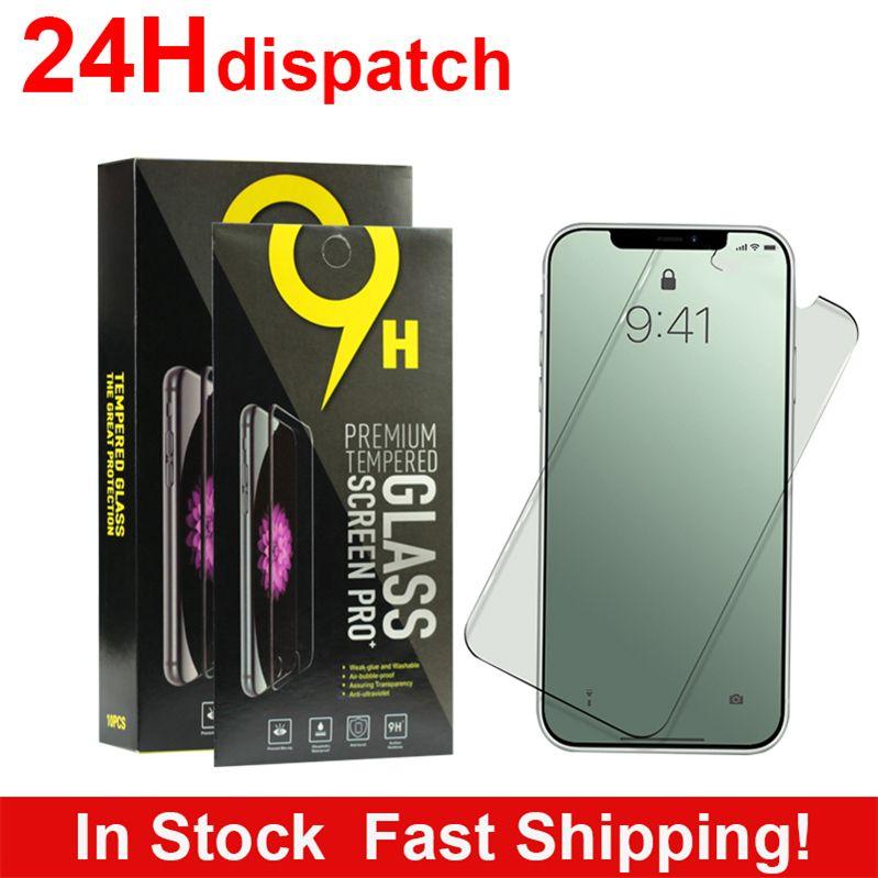 Screen Protector для iPhone 12 Mini Pro максимума 11 XR XS Max 7 8 Plus закаленного стекла для Samsung LG пленки протектора с бумажной коробкой 24H Доставки