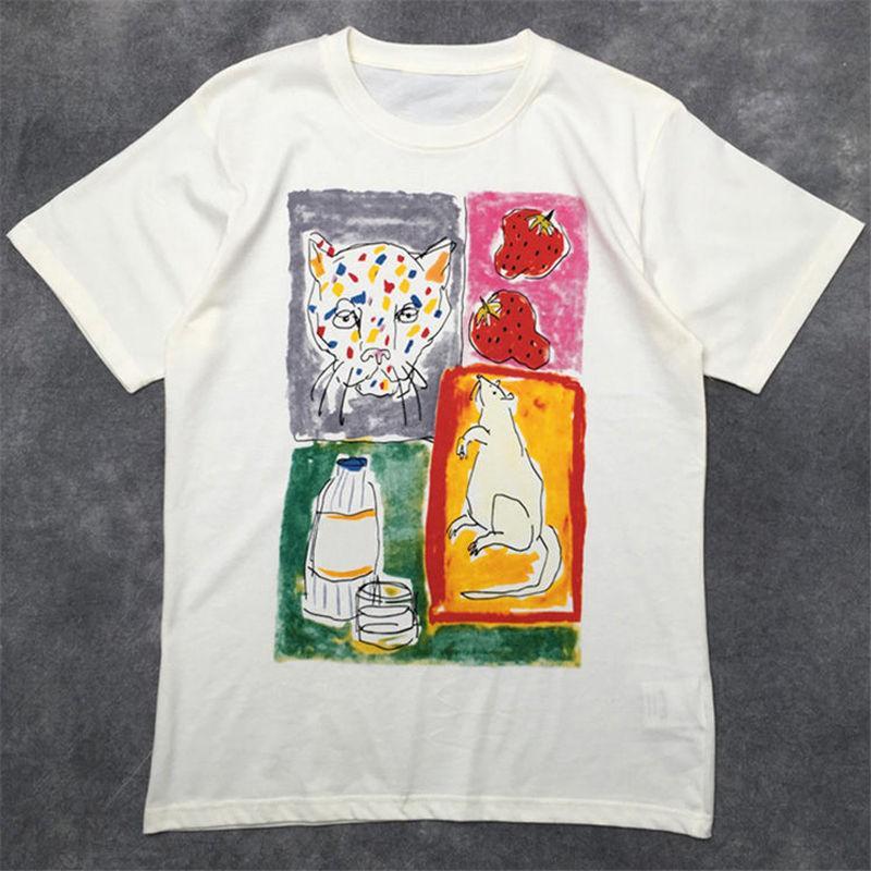 Уличная мода Известные Mens T Shirt 2020 высокого качества животных шаблон пуловер Polos с коротким рукавом футболки Мужчины Женщины Пары Стилист Tee