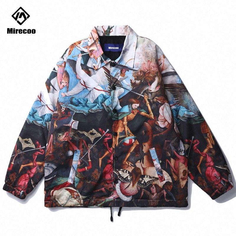 2020 Jacket Men Ölgemälde Engel Printed Herren Jacke Hip Hop Windjacke Men Erweiterte Fashion Coat Street Kleidung Emf4 #