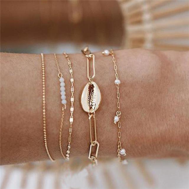 5 pc / insieme della Boemia di modo catena d'imitazione della perla Braccialetto a più strati di metallo Bead Charm Bracelet Shell Set Lady partito