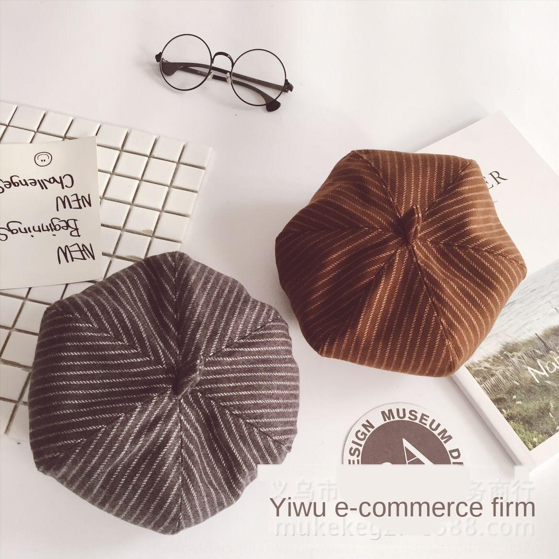 XsEhf Hipster rayé béret Painter Voyage citrouille enfants tissu octogonal tout correspondre chapeau de peintre Béret bébé trendy chapeau octogonal