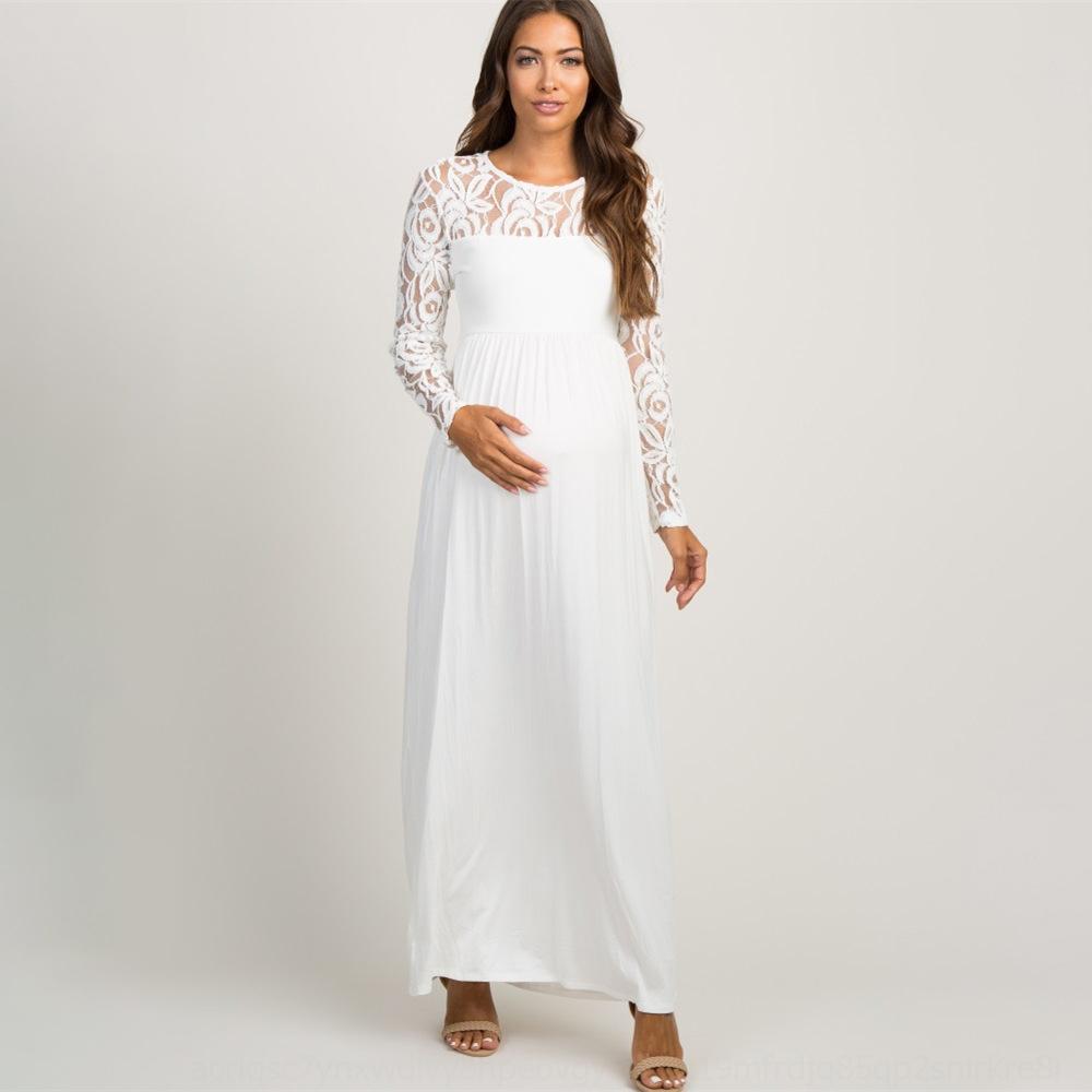 bAVKY bXTNJ 2020 женщины полое из сплошного цвета беременного нового шнурка мода платья кружево длинных юбки платья втулка юбка длинного