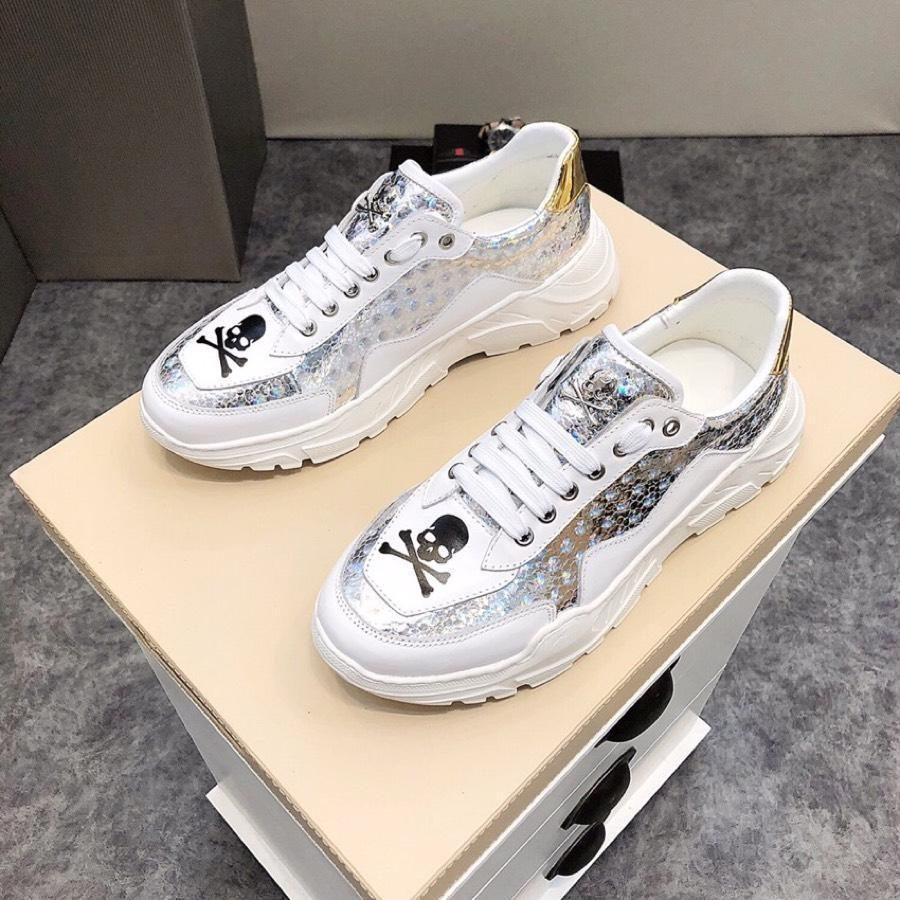 2019w Nouvelle impression de sport Chaussures mode Casual Impression Tendance Hommes # 039 S Chaussures avec des chaussures de fond épais boîte d'emballage originale 38 -44