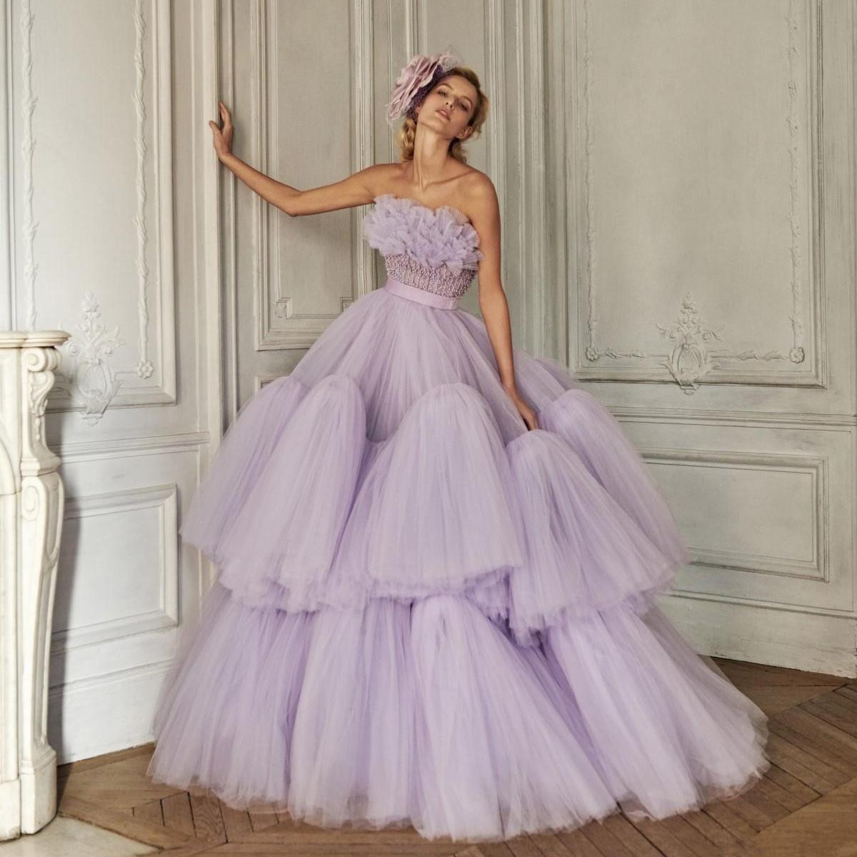 2021 lavanda sin tirantes de vestidos de baile de volantes de tul con gradas del piso-longitud elegante de los vestidos de noche por encargo Vestidos Longo