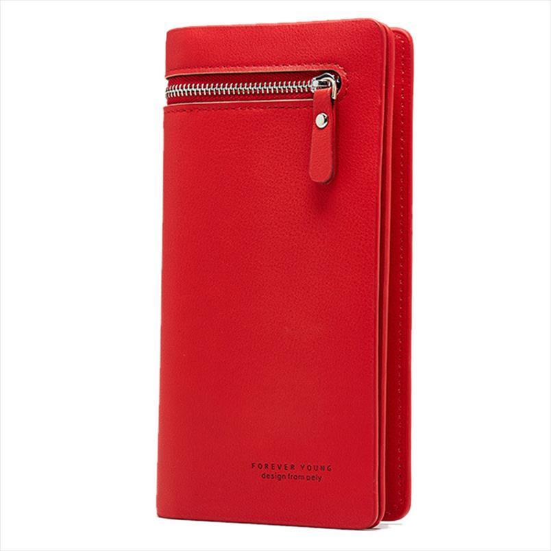Femminile portafoglio PU Womens Wallet pelle frizione di stile di svago della borsa Rosso Rosa Donne lungo dei raccoglitori della borsa della moneta Carteras