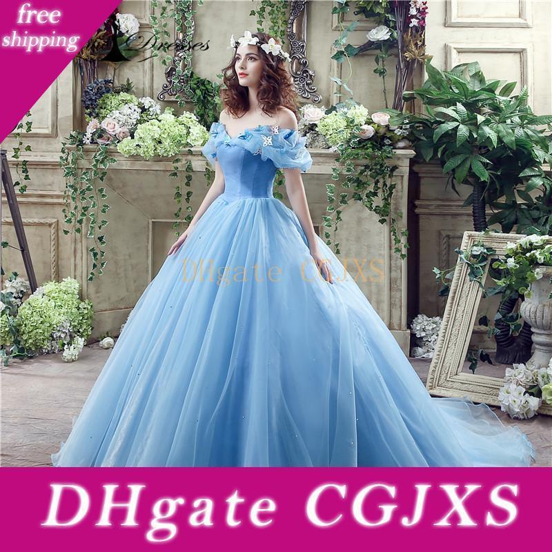 Cenicienta vestidos de fiesta Cosplay Girls azul del boda de los vestidos de bola del Organza del vestido romántico de la boda vestidos de novia En la entrega rápida