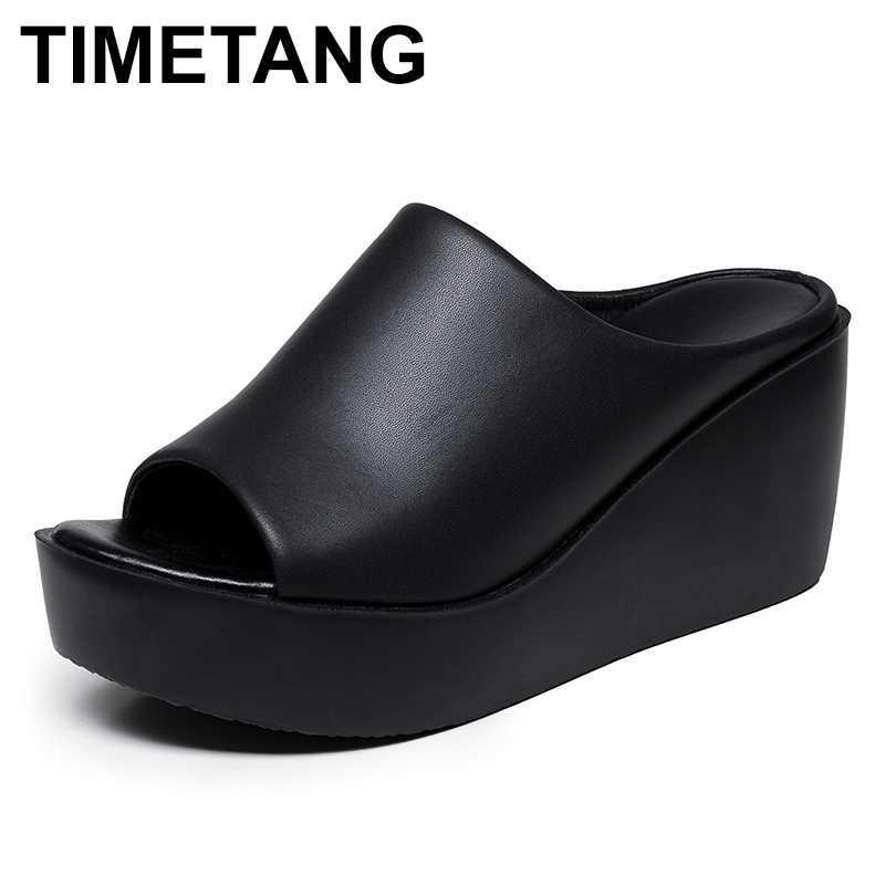 zapatillas de verano TIMETANGWomen femenina tamaño de los deslizadores cuña de la manera zapatilla madre antideslizantes mujeres del cuero genuino sandalias 35-40