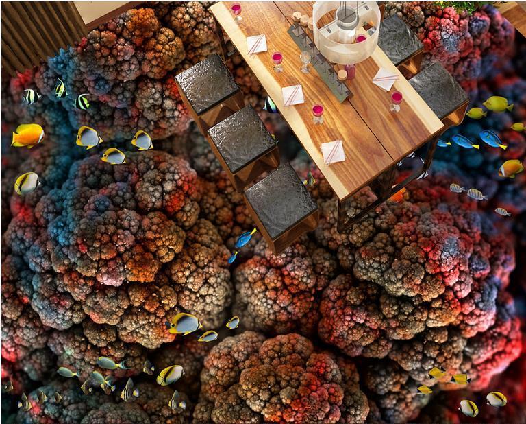 3D-Raum Tapete Schöne Koralle tropische Fische Toilette Bad Schlafzimmer 3D Boden Tapeten Wohnkultur für Kinder