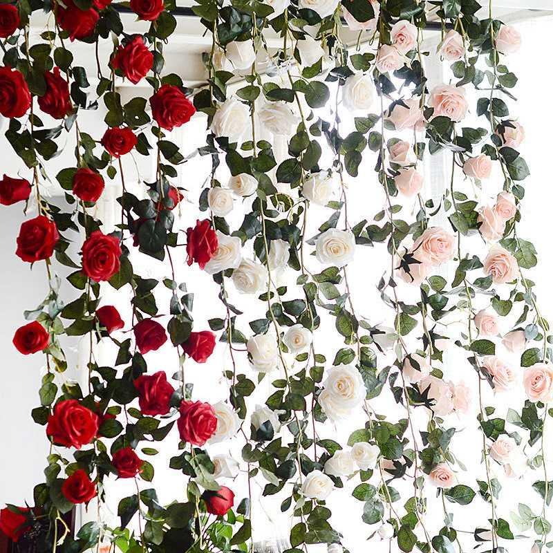180cm Real Touch Silk Flowers String Artificial Rose Flower Ivy Vine With Leaves for Home Hanging Garland Party Wedding Decor