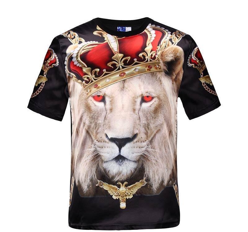 Mikeal Горячее надувательство мужской короткий рукав глянцевые вискоза 3d футболки печать красные глаза корона лев Stage Performance T-Shirt лето Топы тройники