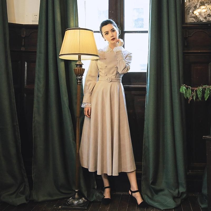 gPe96 ZYGGI artística primavera y el otoño muñeca del organza del collar 2019 británica a cuadros falda de la muñeca de soltera de la falda del vestido largo de la manga vestido a cuadros Francés