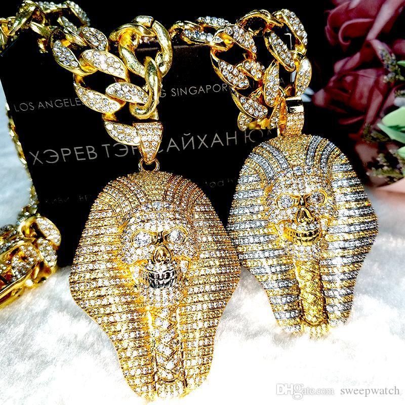 New 24K banhado a ouro faraó egípcio cobre cristal de zircão pingente de diamante vácuo moda jóias banhado a ouro colar populares