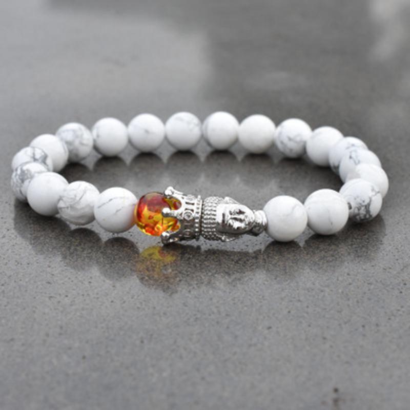 3um Nuovo Motivo naturale corona pino bianco 8 millimetri Buddha testa Bracciale