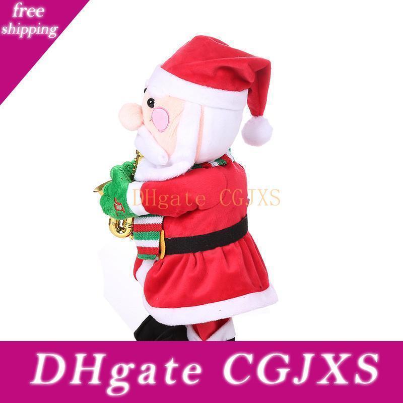 Navidad nuevo regalo de canto y baile musicales de juguete divertido de Santa Claus Elk muñeco de nieve musical de Navidad Decoración de Navidad juguete