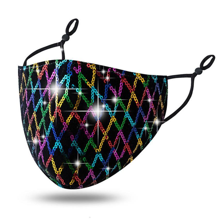 máscaras designer de moda de bling máscara Rhinestone Diamante máscara Lantejoula Decoração de Natal Dustproof respirável em estoque