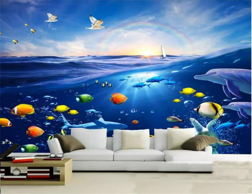 Telón de fondo de tamaño personalizado de la foto 3D del papel pintado de la sala Mural del arco iris Mundo Submarino imagen Sofá TV Mural Decoración Creative Hotel fondo de pantalla