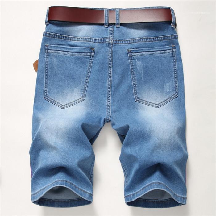 Rayé Short Summer Man longueur au genou Lumière Washed Demin Court Hommes Mode High Street Vêtements pour hommes Trou droite
