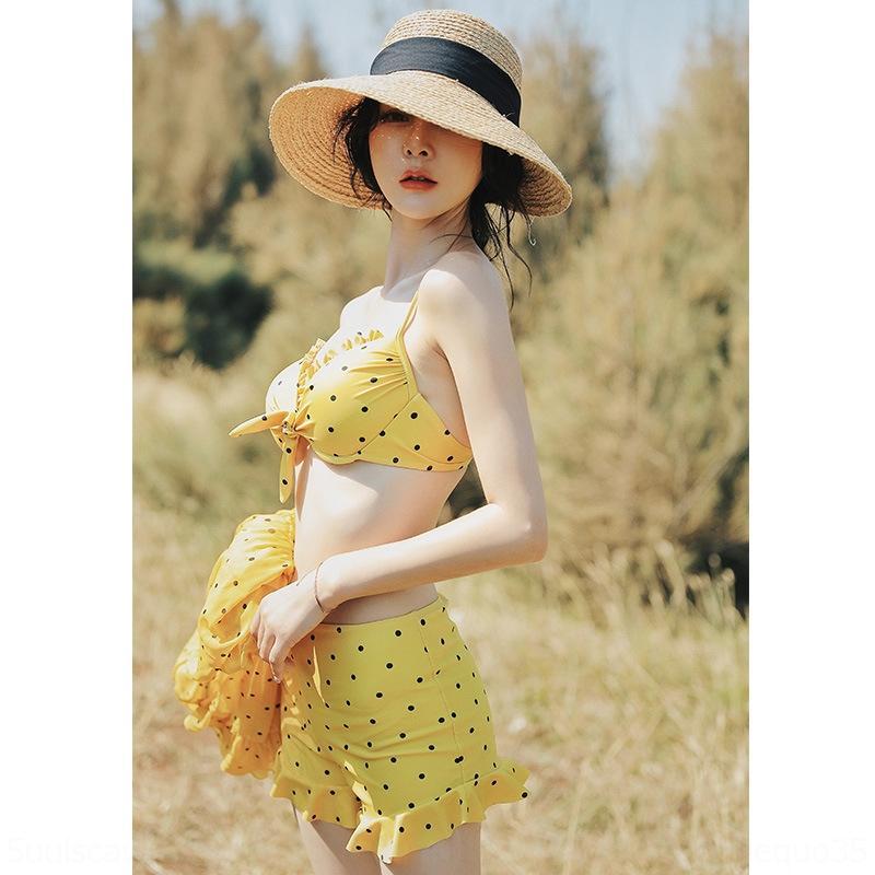fT9S3 DKnnG Корейского раскол бикини из трех частей бикини покрытия юбка живота купальника маленьких женщин Swimsuit груди сбора горячей пружинный грациозных
